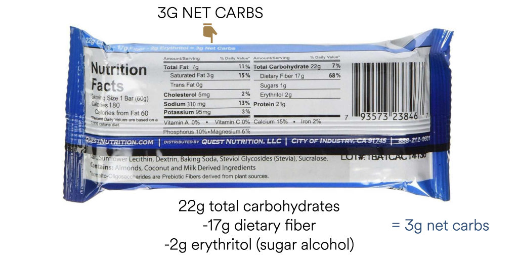 how many carbs on keto net carb example
